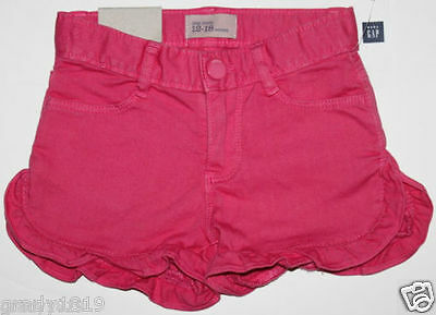 baby Gap NWT Girls Pink Denim Shorts w/ Ruffle Trim Hem