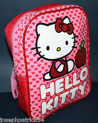 Hello Kitty NWT Girl's Backpack w/ Adjustable Straps & Glitter Trim