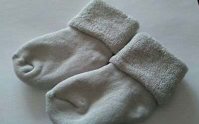 New Thick Grey Cotton Terry Newborn Baby Socks 0 - 6 months old