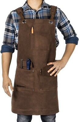 Waxed Canvas Heavy Duty Shop Apron With Pockets Adjustable Up To XXL For Men -