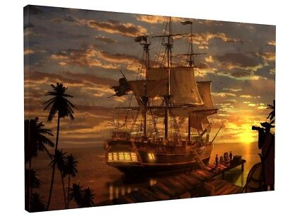 FANTASY PIRATE SHIP Canvas Picture Print Wall Art Chunky Frame Large ...