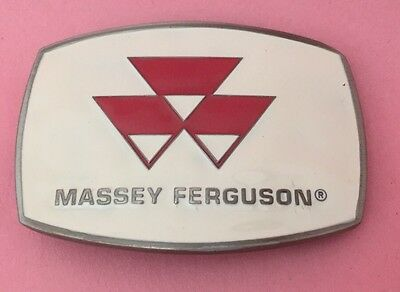 Vintage White Massey Ferguson Tractor Symbol Classic Belt Buckle In Original Box