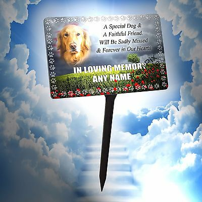 Personalised Dog Memorial Plaque No2 & Stake. Waterproof, Using Your Photo