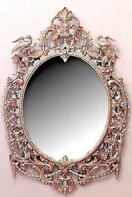 English Georgian Style (18/19th Cent.) Carved Floral and Filigree Wall Mirror