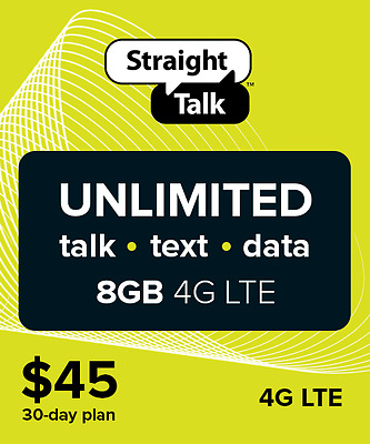 Straight Talk $45 Unlimited 30 Days 8GB Service Card