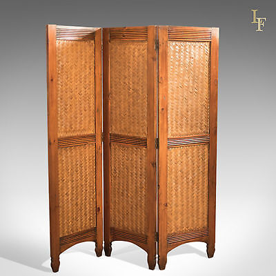 Mid-Century Split Bamboo Screen, Three Fold Room Divider, Maple Partition