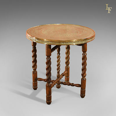 Antique N. African Brass Coffee Table on Folding Stand, Campaign c.1930s
