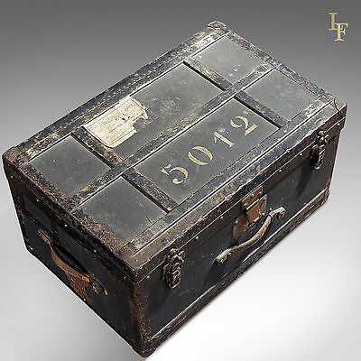 Antique Swiss Military Officer's Trunk, Chest, Original Labels, c.1900