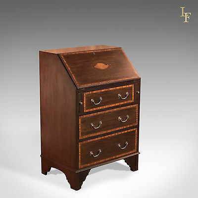 Antique Bureau, Edwardian Mahogany Writing Desk, English Library Furniture c1910