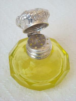 Rare Antique Uranium Glass Silver Lid Vinaigrette Perfume/scent Bottle C1880