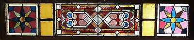 VICTORIAN STAINED GLASS WINDOW WITH JEWELS AND BEVELS - 16 by 70