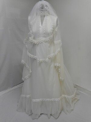 "Vintage wedding dress & veil 70's trumpet sleeve empire line 54"" long 32""B UK8"