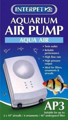 Interpet Aqua Air Aquarium Air Pump   AP3  Tropical Fish Tank Air Pump Coldwater