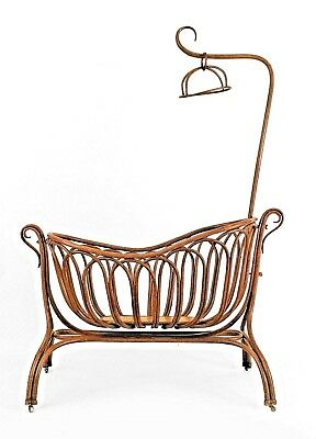 Austrian Bentwood Large Cradle on Stand with Canopy (19/20th Cent.)