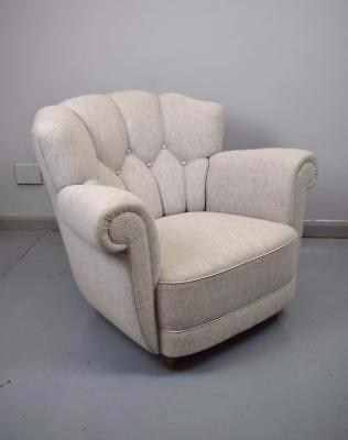Mid Century Art Deco Danish Wool Lounge Club Arm Chair 1940s