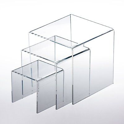 "Adorox Top Quality (1 Set Of 3pcs) Clear Acrylic Display Riser (3"", 4"", 5"") Jew"
