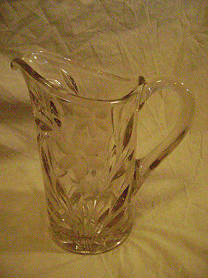 VTG Clear Pressed Glass Pitcher-Etched Flowers/Rim-Heavy-No Marks