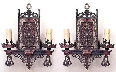 Pair of English Arts and Crafts (Gothic Style) 2 Arm Wall Sconces
