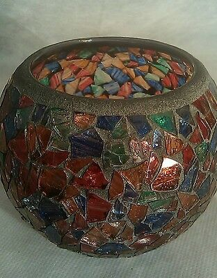 Mosaic Glass Candle Holder - Candlestock, Woodstock N.Y.