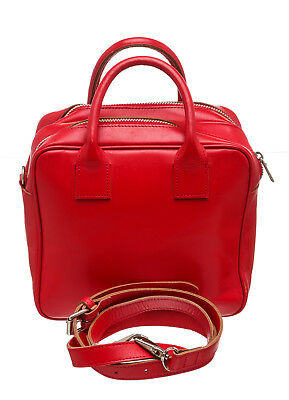 Comme Des Garcons Tricot  Red Leather Crossbody with Handle Bag