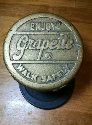 "3 Brass Grapette Soda Pop Sidewalk Markers 3 7/8"" Diameter 'Walk Safely'"