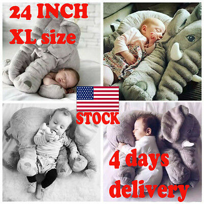 Cute Pillow Elephant Children Soft Plush Toy Doll Baby Kids Nose Cushion size XL