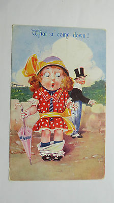 1910s Vintage Bamforth Witty Comic Postcard #100 Knickers Bloomers Fashion Hat