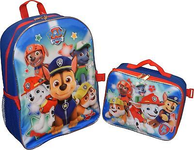 "Boys 16"" Paw Patrol School  Backpack Lunch Box Book Bag Set Kids  NEW"