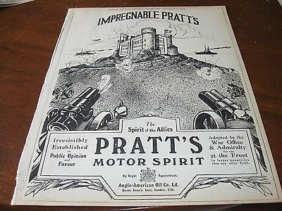 1914 Original AD Advertising - PRATT's MOTOR OIL Anglo-American Oil ALLIES WWI