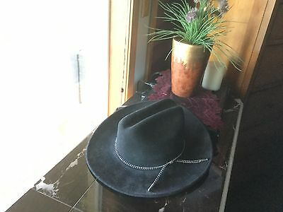 6d09bc47fb1 Mens Medium Sheplers By Bailey Black Wool Western Cowboy Hat USA EXCELLENT