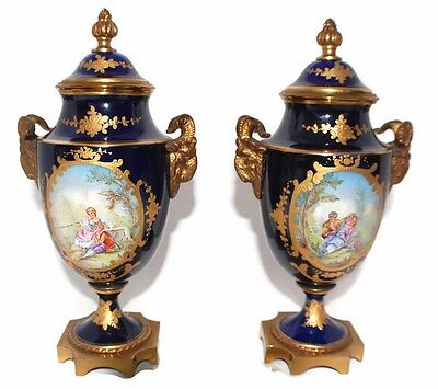 Pair Of Beautiful Antique Hand Painted French Urns