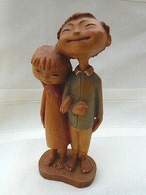 Vintage Signed ANRI Hand Carved Asian Couple Wood 1960's Italy Siegfred Hafner