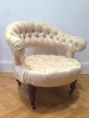Vintage Reproduction Of Antique Round Bedroom Chair Cream Damask BRISTOL