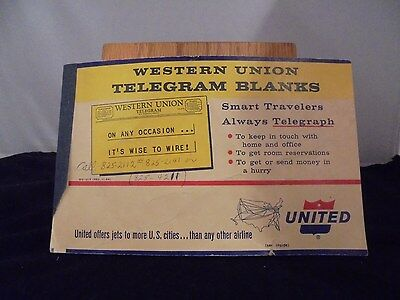 Vintage Western Union Telegram Blanks Book With United Airlines Advertisment