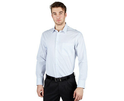 NNT Men's Long Sleeve Shirt - White/Blue Stripe