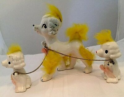Vintage Chained 3 Poodle Family Mother and 2 Babies with Yellow Fur Japan. S6