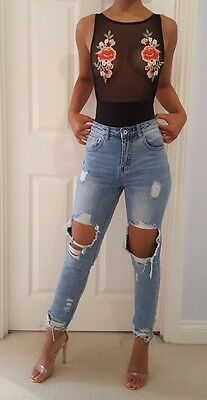 Ripped Knee zara river island designer style Jeans christmas party wear