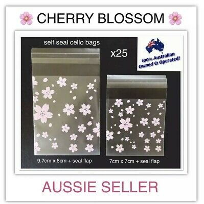 """🇦🇺x25 """"BLOSSOM"""" 🌸 SELF SEAL GIFT CELLO PACKAGING BAGS~MELTS/SOAP/CRAFT/FOODS"""