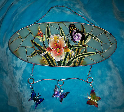 "Oval Stained Glass Window Hanging Art - Floral & Butterflies - 15"" x 7"""