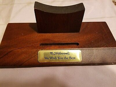 """MJ Hummel Wood Plate Stand, """"We Wish You the Best"""" Plate not included."""