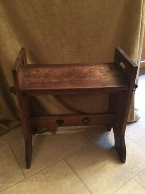 Solid Oak antique arts and crafts church Harmonium seat Stool bench Gothic