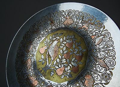 1970 Damascene REED & BARTON 12 DAYS CHRISTMAS Mixed METAL Partridge TRAY Hand-C