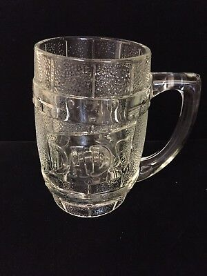"""Dad's Barrel Glass Mug Great Gift 5.5"""" Inches Tall"""