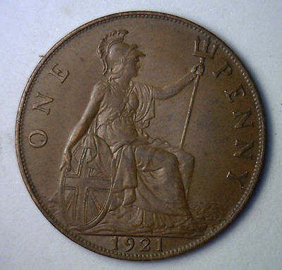 1921 Bronze One Pence UK One Penny Great Britain Coin XF