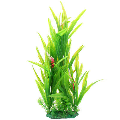 Aquarium Tank Plastic Decorative Leaves Water Grass Plant Ornament Green Pink