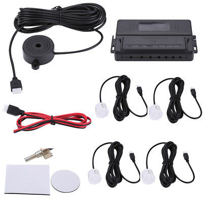 4 Parking Sensors Car Reverse Backup Buzzer Alarm Rear Radar System Kit  White