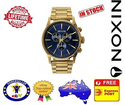 Nixon Sentry SS Chrono Gold Blue Sunray Mens Watch A386-1922 A3861922 Stainless