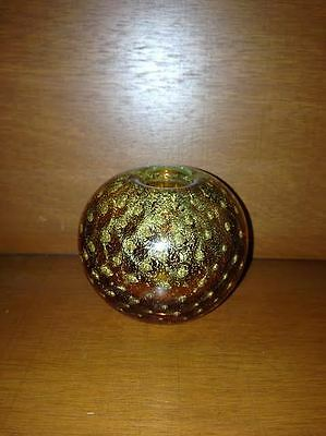 Gorgeous Murano Biomorphic Gold Leaf Controlled Bubbles Candle Votive #2