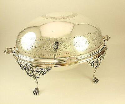 Elkington Antique Silver Plated Revolving Dome Roll Top Breakfast Entree Server