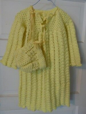 Vintage Hand Crocheted Long Baby Gown / Coat & Bonnet Light Yellow Infant